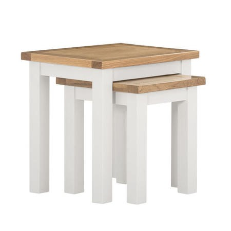 Willow Nest of Living Room Tables in Two Tone Oak & Cream
