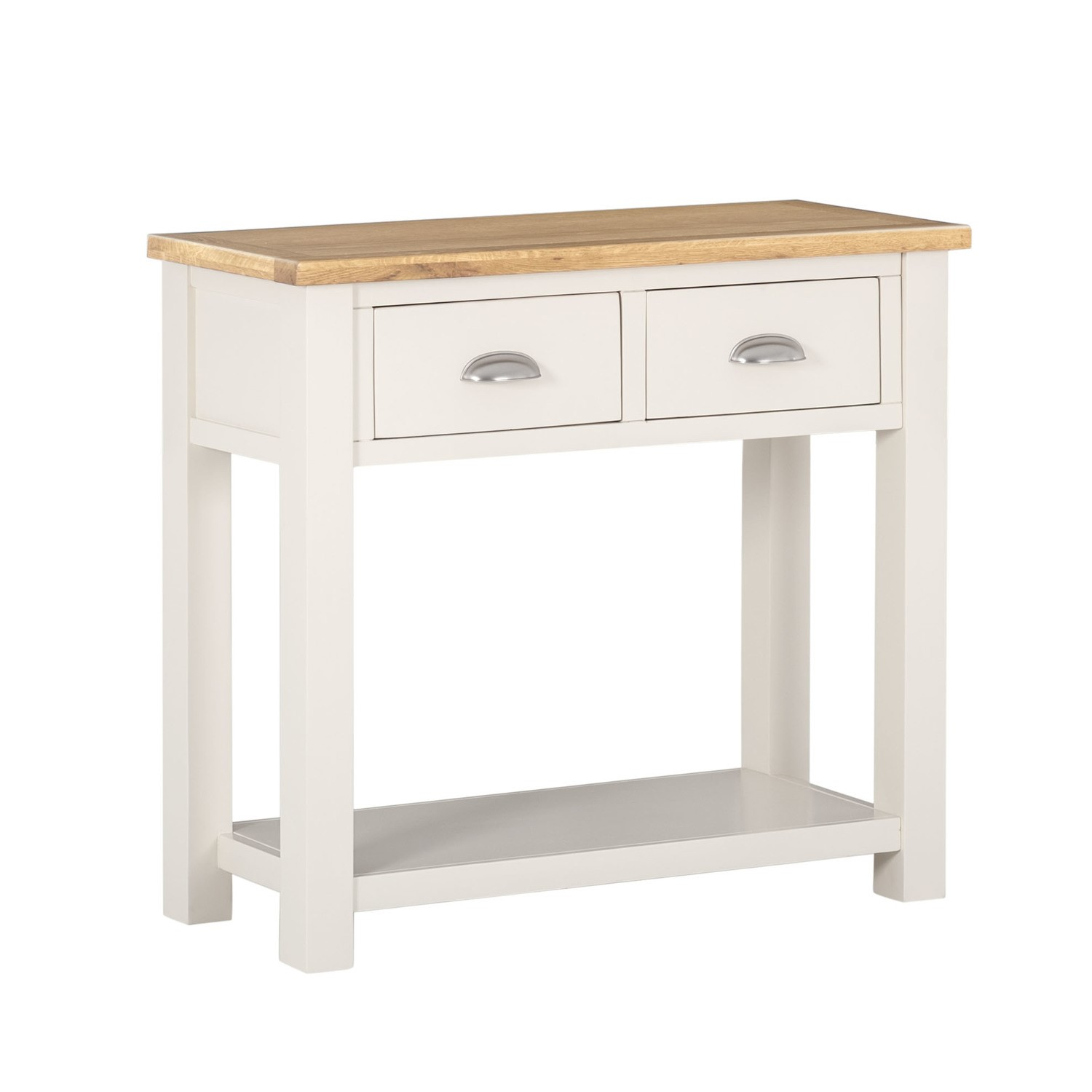 willow farmhouse console table with storage drawers cream oak rh furniture123 co uk