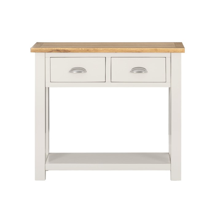 Willow Farmhouse Console Table With Storage Drawers Cream Oak
