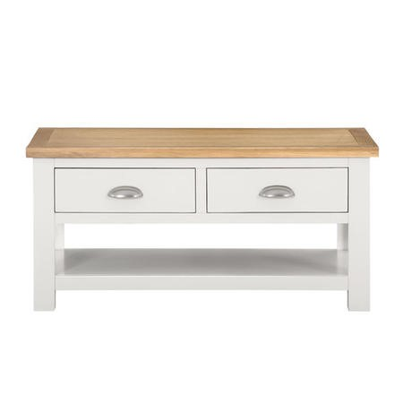 Superior Willow 2 Drawer Coffee Table In Cream And Light Oak