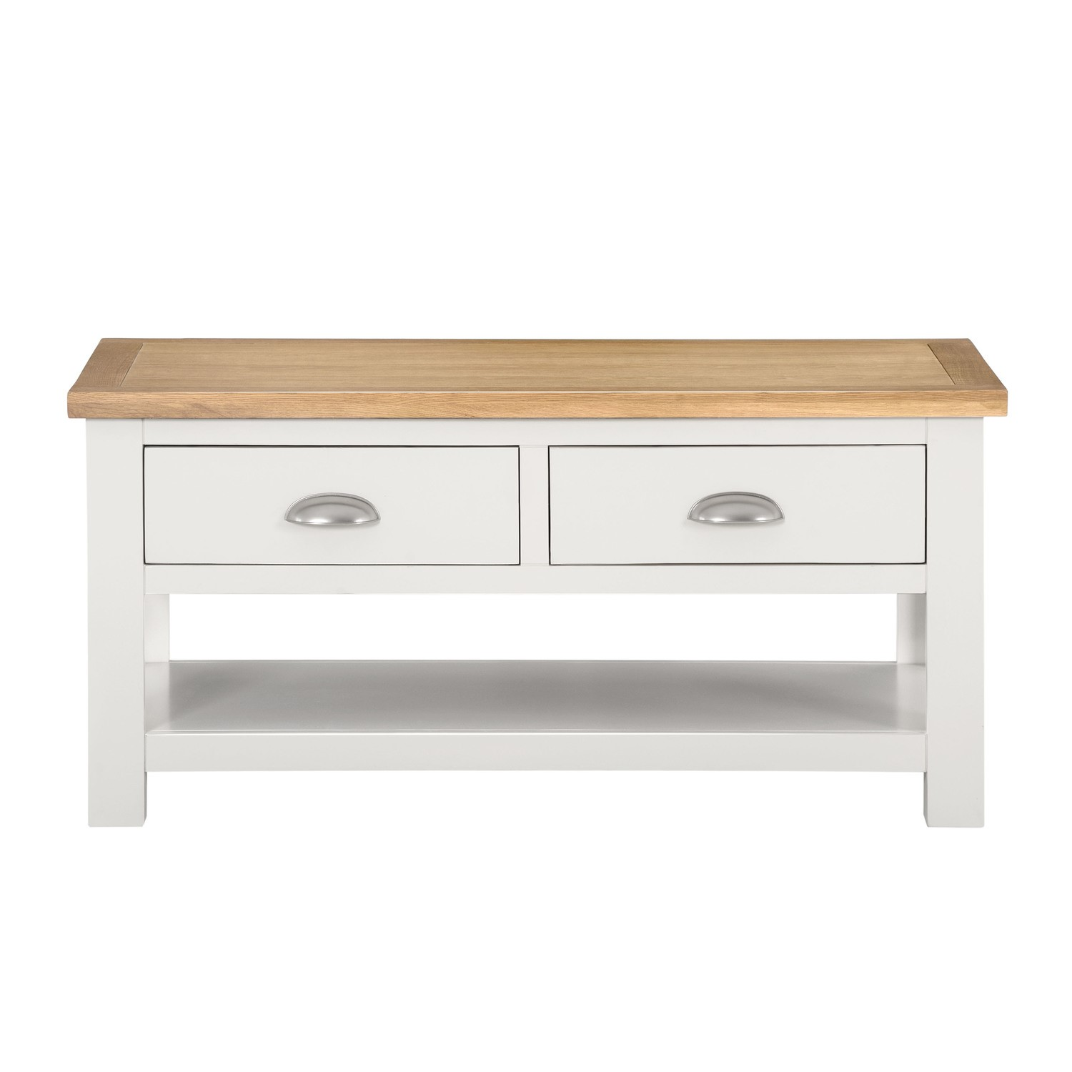 Willow Wood Coffee Table With Storage In Cream And Light Oak