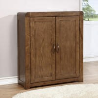 Windsor Solid Dark Oak Shoe Storage Cupboard - 20 Pairs