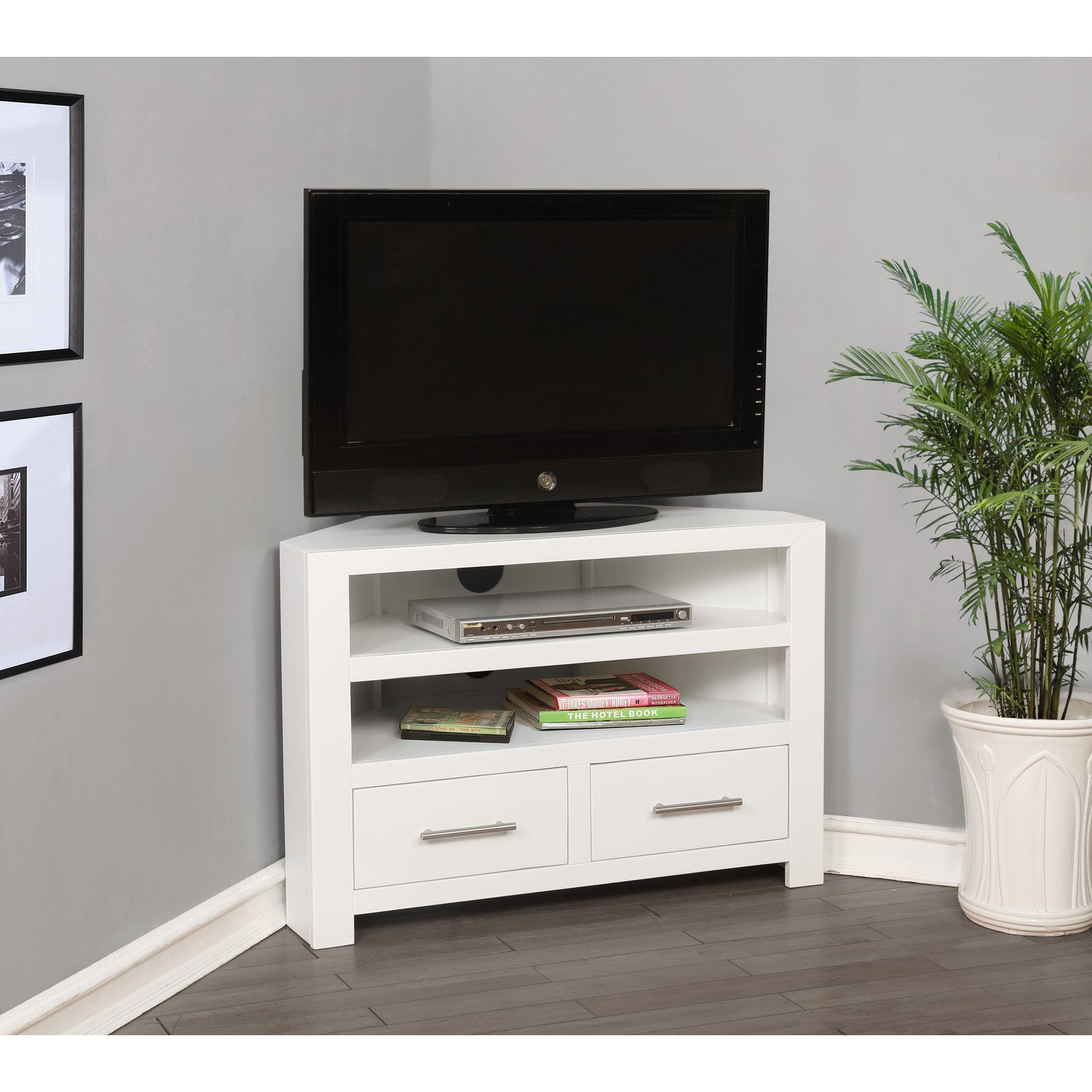 Windsor Painted White Solid Wood Corner Tv Unit Furniture123