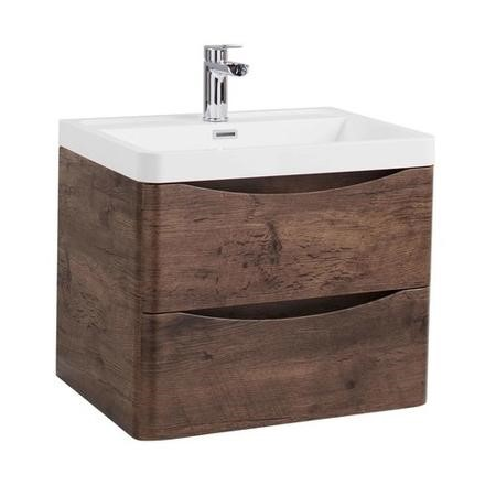 Walnut Wall Hung Bathroom Vanity Unit & Basin - 600mm Wide - Oakland