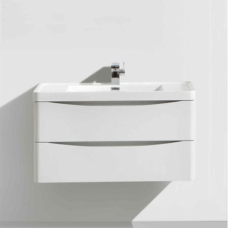 White Wall Hung Bathroom Vanity Unit & Basin - 600mm Wide - Oakland