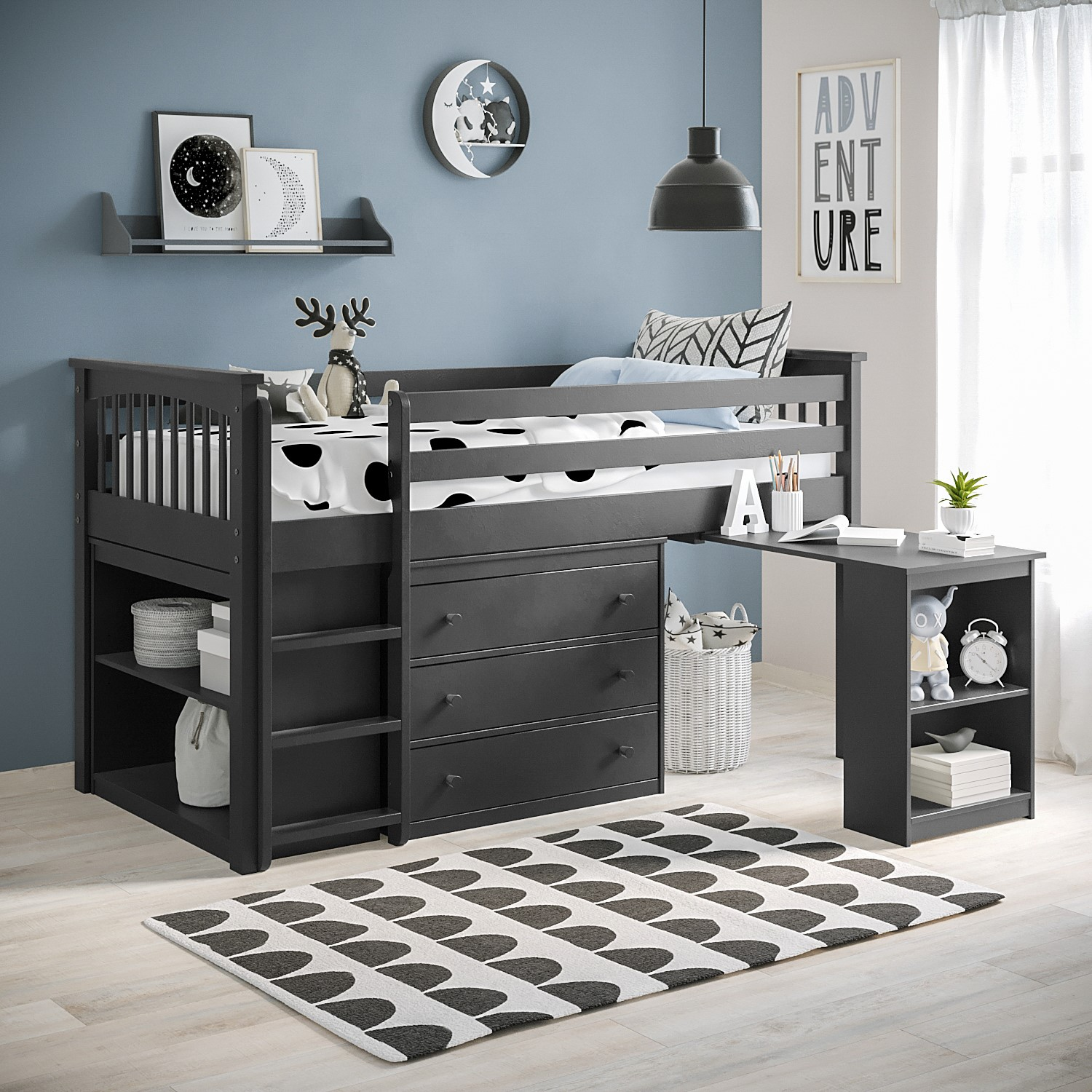 Picture of: Grade A2 Windermere Midsleeper In Dark Grey With Pull Out Desk Furniture123