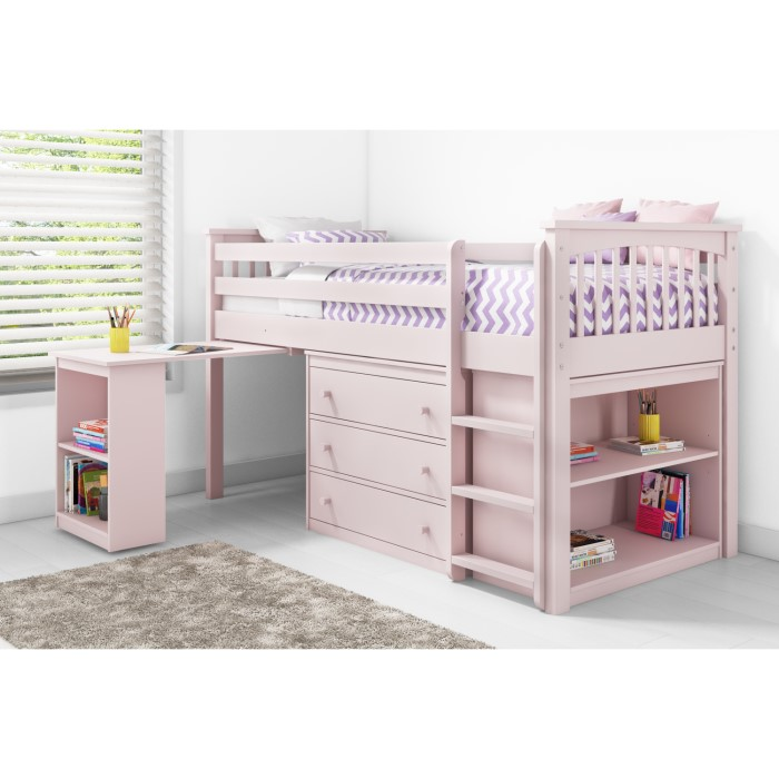 Windermere Girls Mid Sleeper In Light Pink With Pull Out
