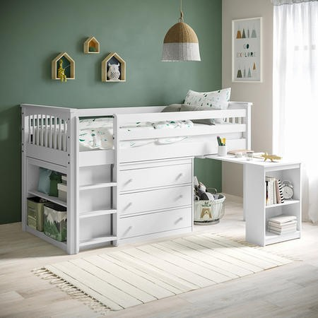 Windermere Mid Sleeper in White with Pull Out Desk