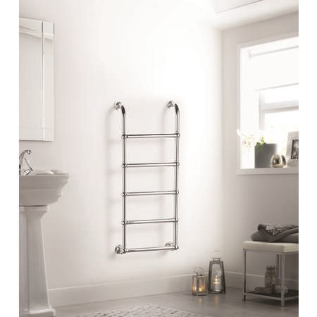 Chrome Vertical Traditional Bathroom Towel Radiator 1200 x 500mm