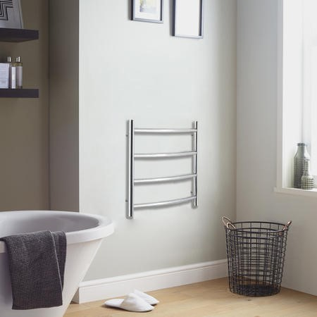 GRADE A1 - Polished Stainless Steel Vertical Curved Bathroom Towel Radiator 50W - 600 x 400mm - Electric