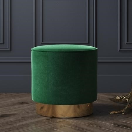 Xena Velvet Pouffe in Dark Green - Small Round Upholstered Stool