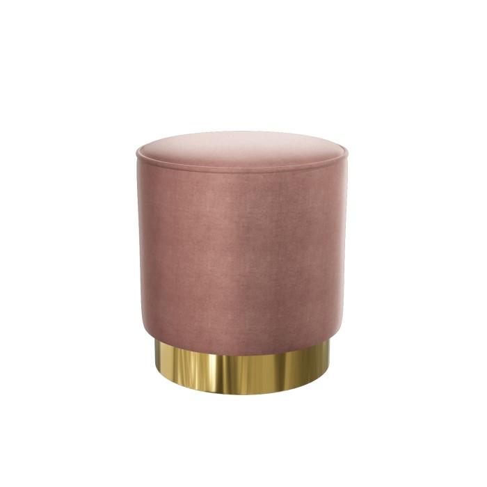 Xena Pouffe In Blush Pink Velvet Small Round Upholstered