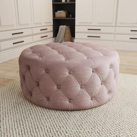Xena Large Quilted Button Pouffe in Baby Pink Velvet