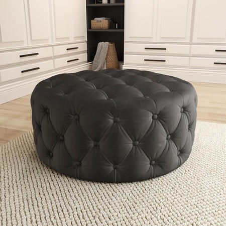 Xena Large Buttoned Footstool in Dark Grey Velvet