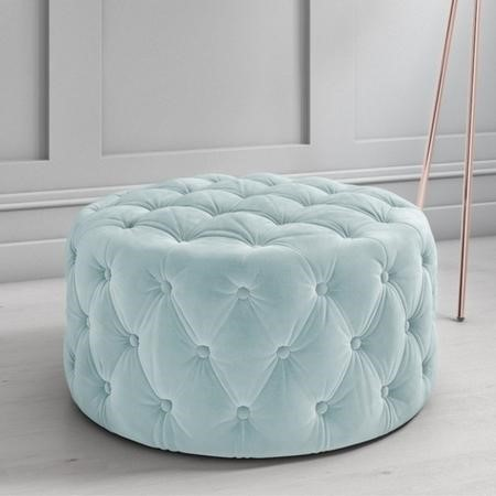Xena Large Quilted Button Pouffe in Light Duck Egg Blue Velvet