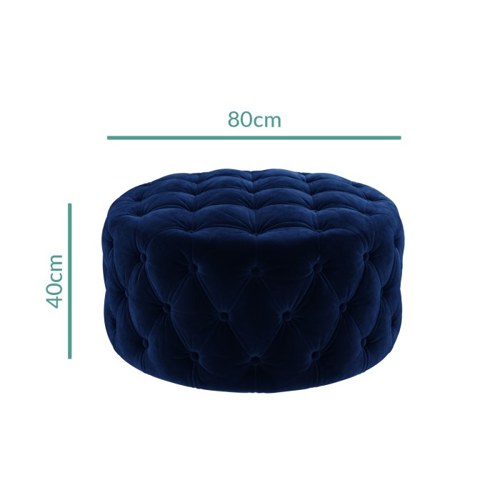 Xena Large Quilted Button Pouffe In Navy Velvet Furniture123