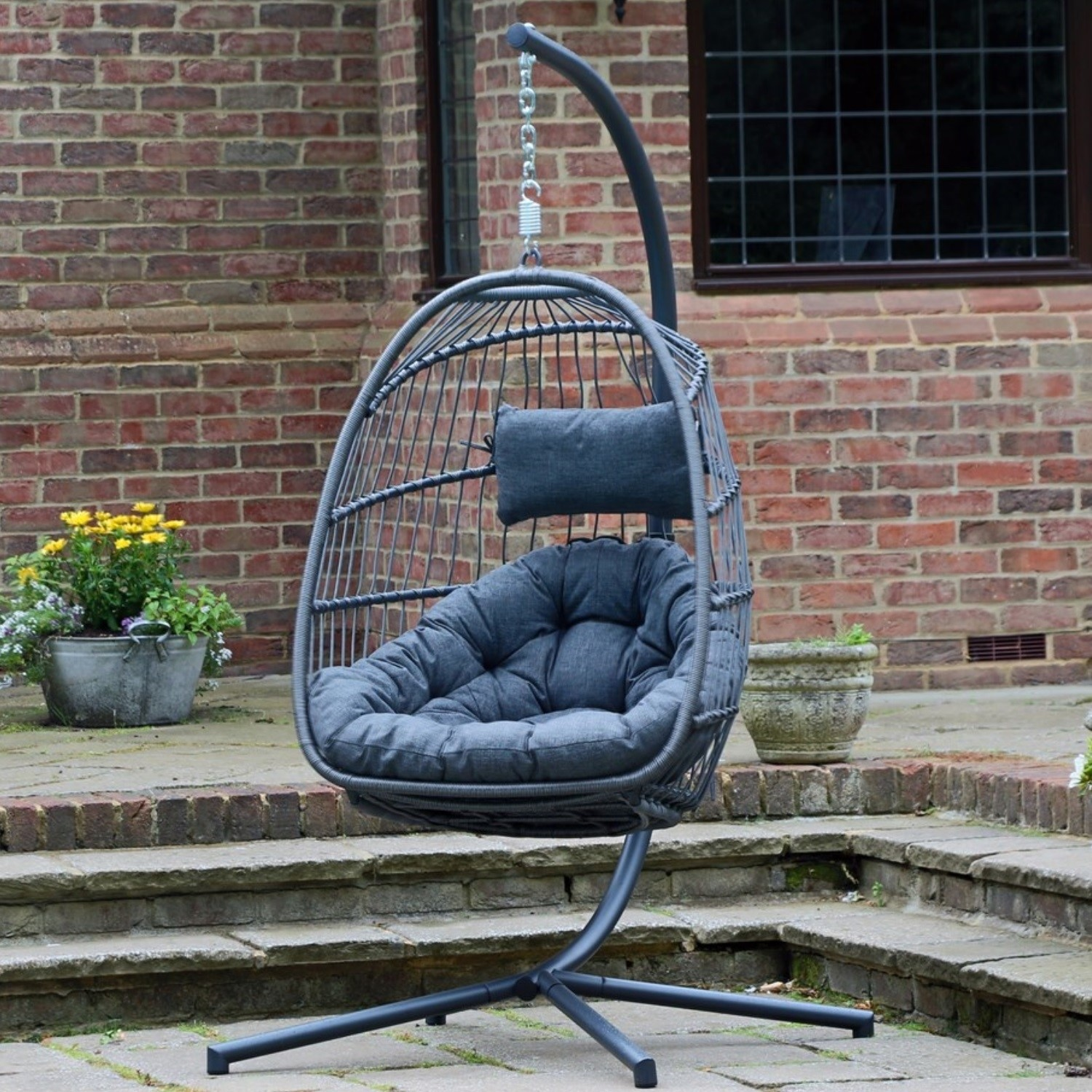 Fantastic Outdoor Foldable Hanging Egg Chair In Grey Rattan Holly Andrewgaddart Wooden Chair Designs For Living Room Andrewgaddartcom