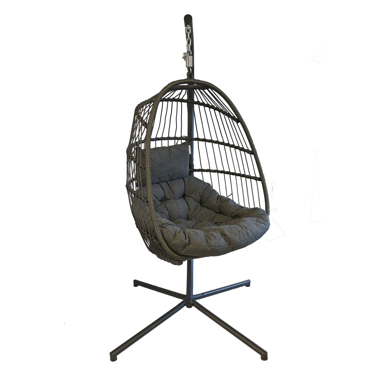 Superb Outdoor Foldable Hanging Egg Chair In Grey Rattan Holly Andrewgaddart Wooden Chair Designs For Living Room Andrewgaddartcom