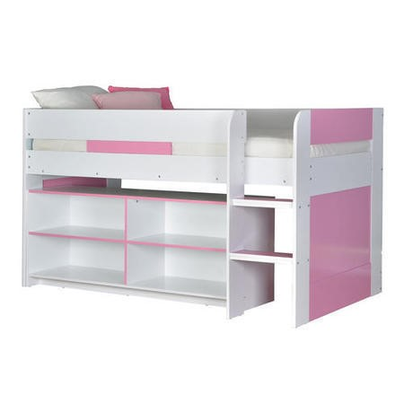 Yoyo Girls Mid Sleeper Bed In White Amp Pink With Shelving