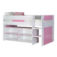 YoYo Girls Mid Sleeper Bed in White & Pink with Shelving Unit