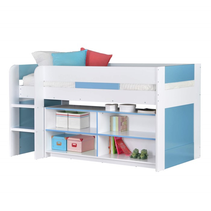 ebe93b2747 YoYo Boys Mid Sleeper Bed in Blue   White with Shelving Unit ...