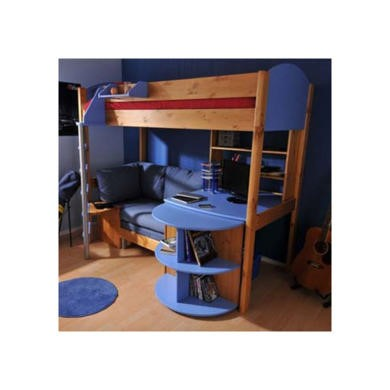 Stompa Casa Kids Natural Highsleeper Bed in Blue with Pink Sofa Bed Desk and Shelving