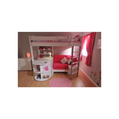 Stompa Casa Kids White Highsleeper Bed and Chest Furniture Set  pink sofa bed