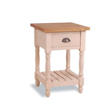 French Painted 1 Drawer Lamp Table - cream