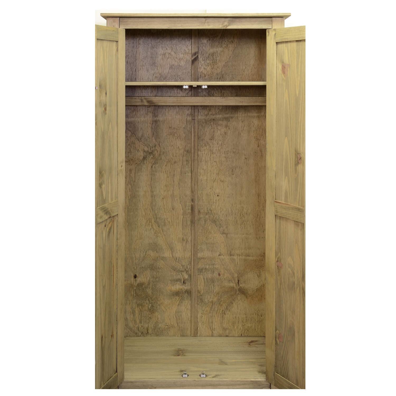 Warehouse Bargains Panama 3/Door Wardrobe in Natural Wood and Wax Finish