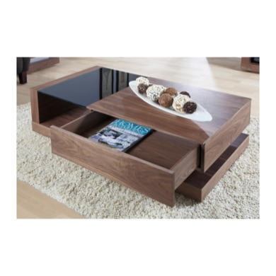 Jual Furnishings Cube Coffee Table in Walnut and Black Glass with Drawer