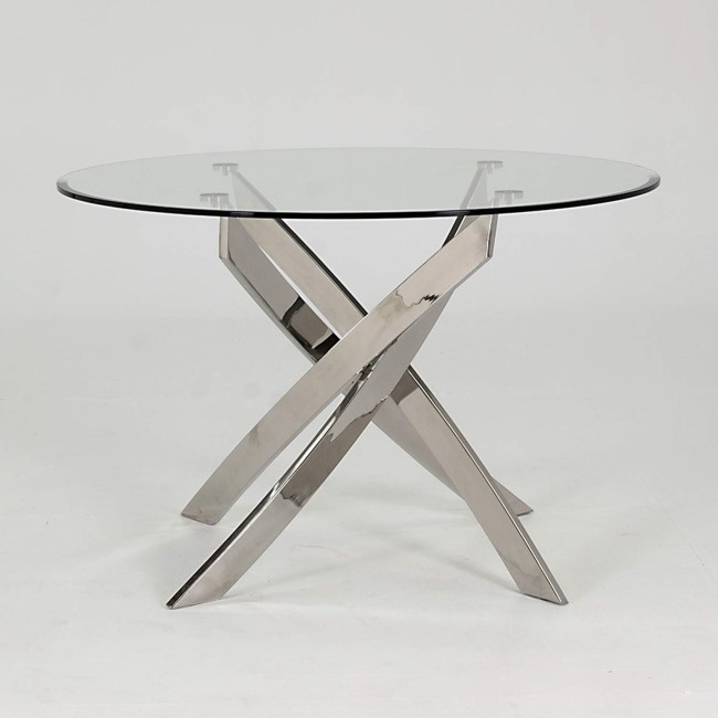 Glass Round Dining Table with Chrome Base - Seats 4 - Vida Living Kalmar
