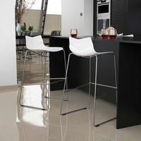 GRADE A1 - Single Trent Bar Stool in White with Chrome Legs