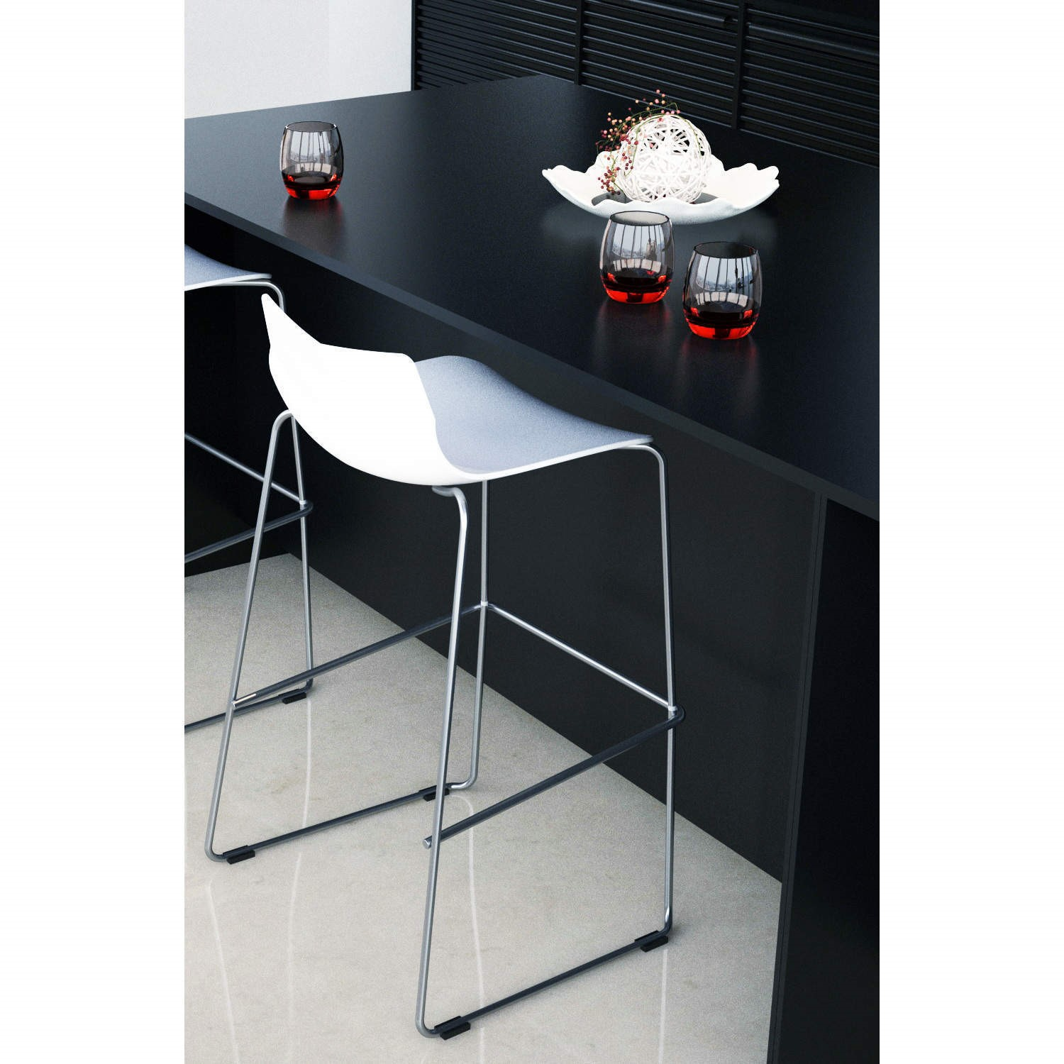 Single Trent Bar Stool In White With Chrome Legs