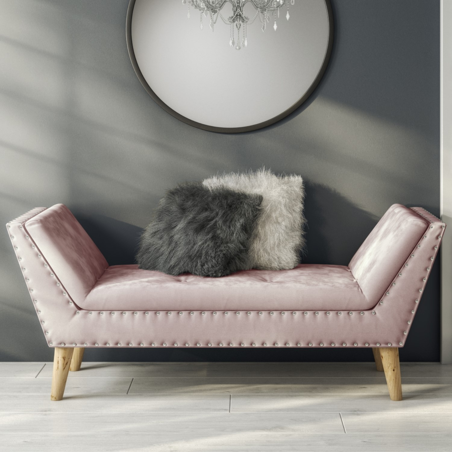 Safina Velvet Hallway Bench Seat With Stud Detailing In Baby Pink