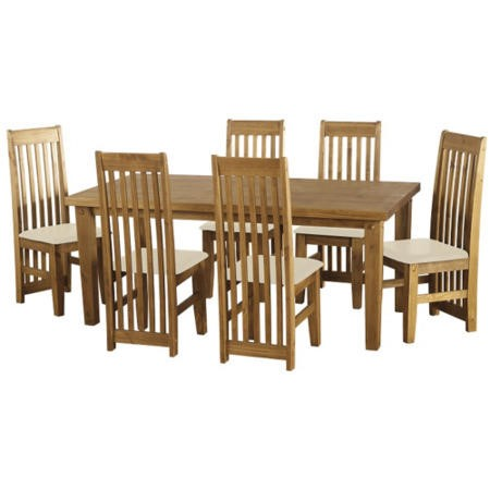 Seconique Tortilla Pine Dining Set + 6 Cream Faux Leather Chairs