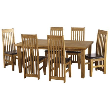Seconique Tortilla Pine Dining Set + 6 Dining Chairs