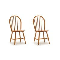 Windsor Pair of Dining Chairs - Honey