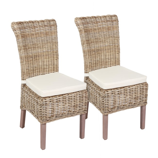 Pair of Wicker Dining Chairs with Cushions Included