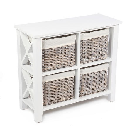 Country Storage Chest with 4 Real Wicker Baskets