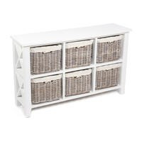 White Storage Chest with 6 Wicker Baskets - Cotton Linings Included