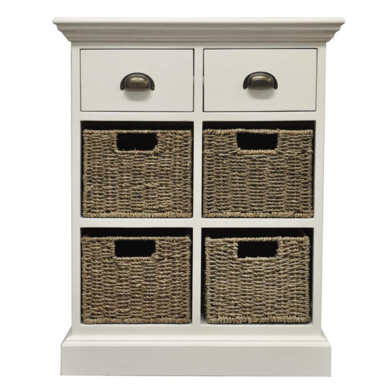 new styles 6f72f fcf9e White Hallway Storage Chest with 2 Drawers 4 Wicker Baskets