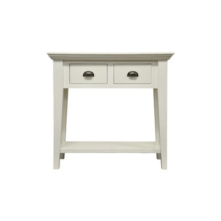 Country Painted White 2 Drawer Console Table