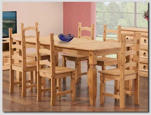 Corona solid pine dining set with 6 chairs furniture123 for Furniture 123 code