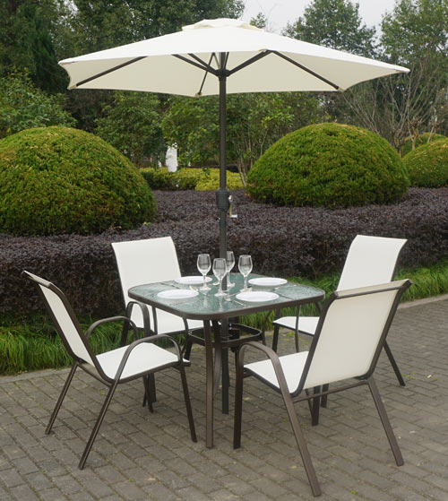 Brown Metal And Cream 4 Seater Garden Dining Set Parasol Included Furniture123