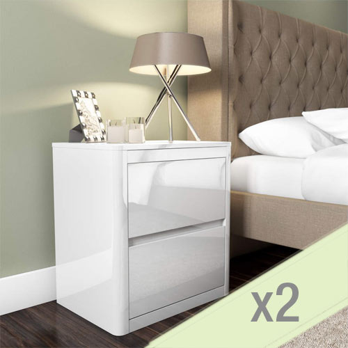 Lexi white bedside table