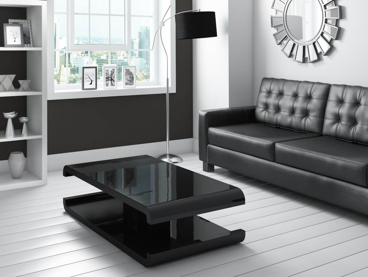 Wondrous High Gloss Black Coffee Table With Led Lighting Tiffany Range Unemploymentrelief Wooden Chair Designs For Living Room Unemploymentrelieforg