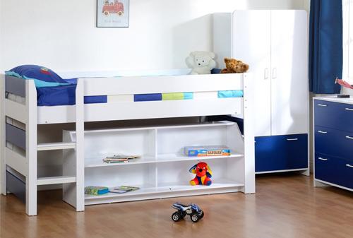 Boys Blue White Seconique Lollipop Bunk Bed Kids Mid