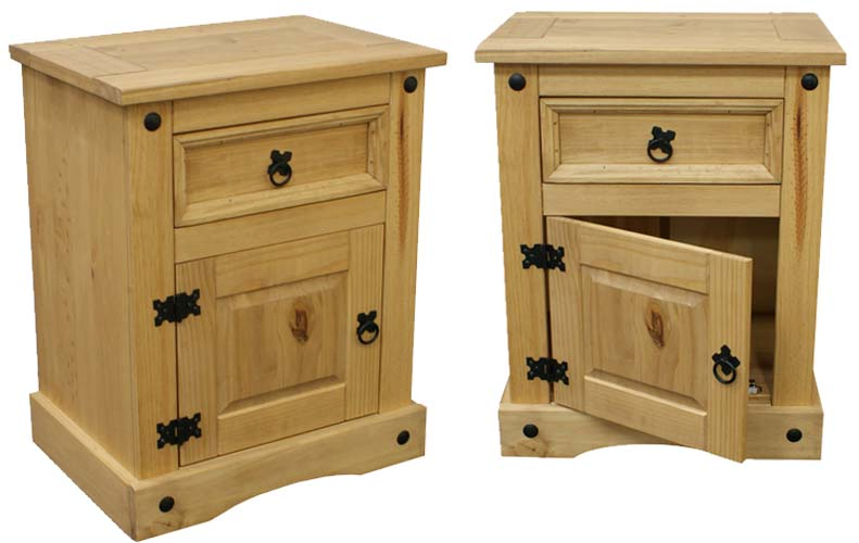 Set of 2 corona mexican bedside table in solid pine for Furniture 123 code
