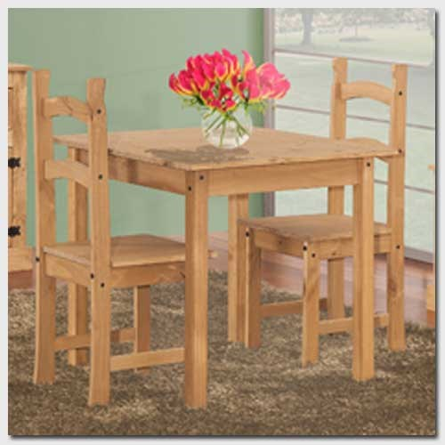 Corona solid pine square dining set with 2 chairs for Furniture 123 code