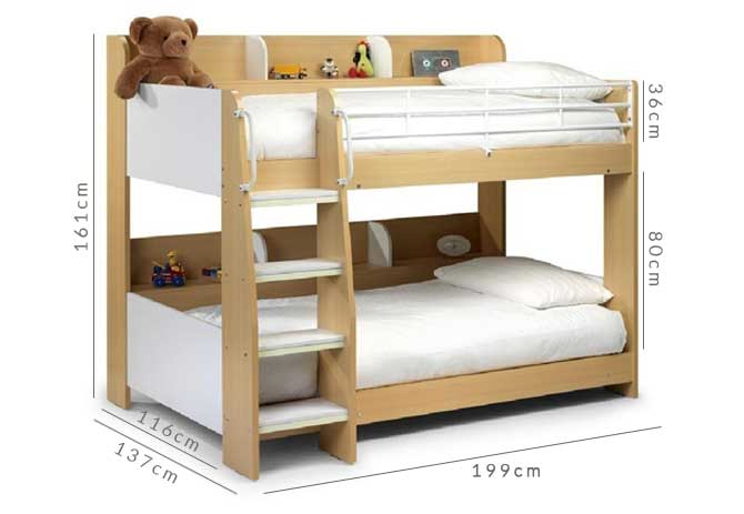 grade a1 julian bowen domino bunk beds in maple and white